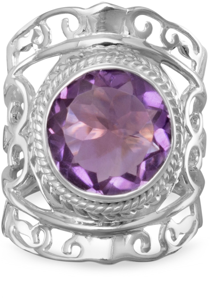 Ornate Amethyst Ring 925 Sterling Silver