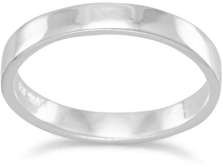"3mm (1/8"") Polished Square Band Ring 925 Sterling Silver"