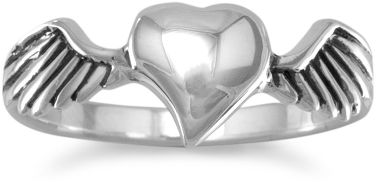Oxidized Heart with Wings Ring 925 Sterling Silver