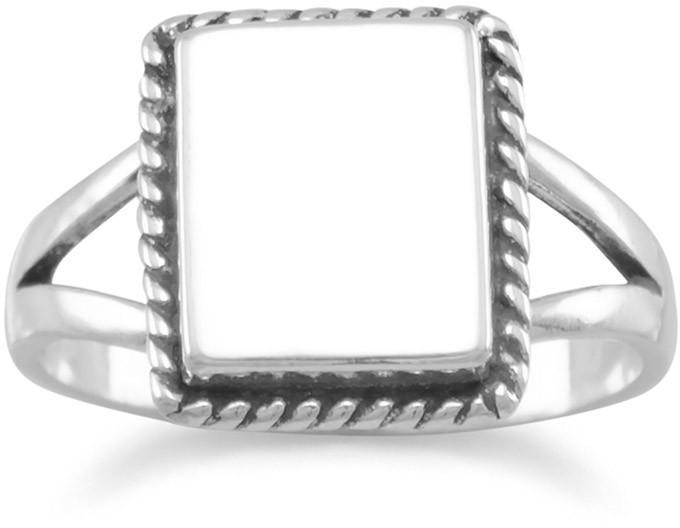 Square ID Ring with Rope Edge 925 Sterling Silver
