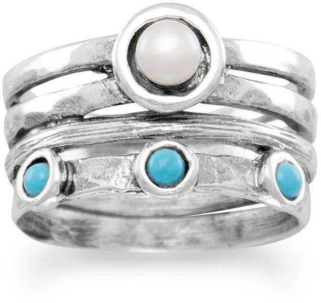 Oxidized Cultured Freshwater Pearl and Turquoise Ring 925 Sterling Silver
