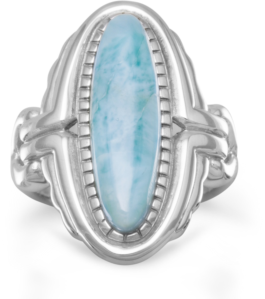 Oval Larimar Ring 925 Sterling Silver