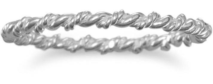 Thin Twisted Band 925 Sterling Silver