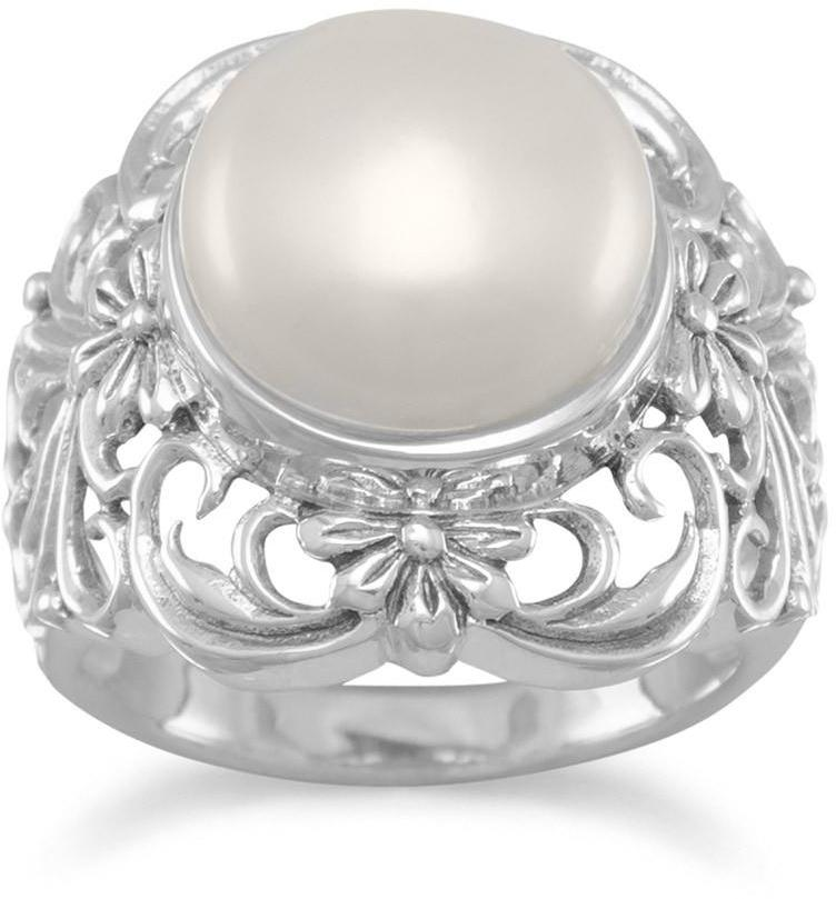 Ornate Cultured Freshwater Pearl Ring 925 Sterling Silver