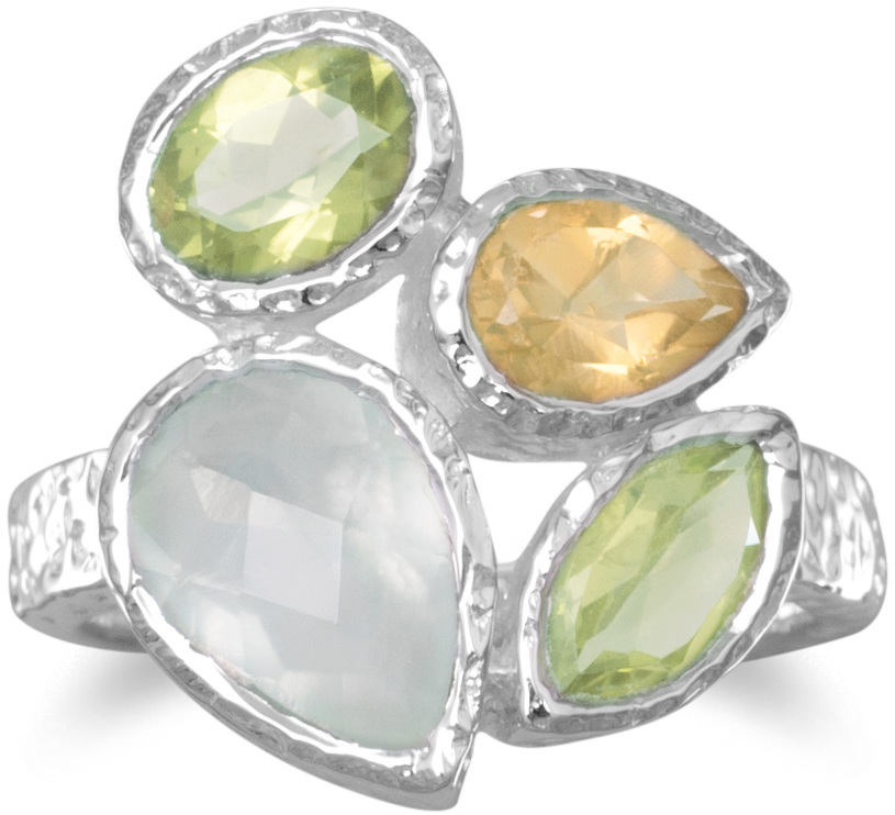 Peridot, Prehnite and Citrine Ring 925 Sterling Silver