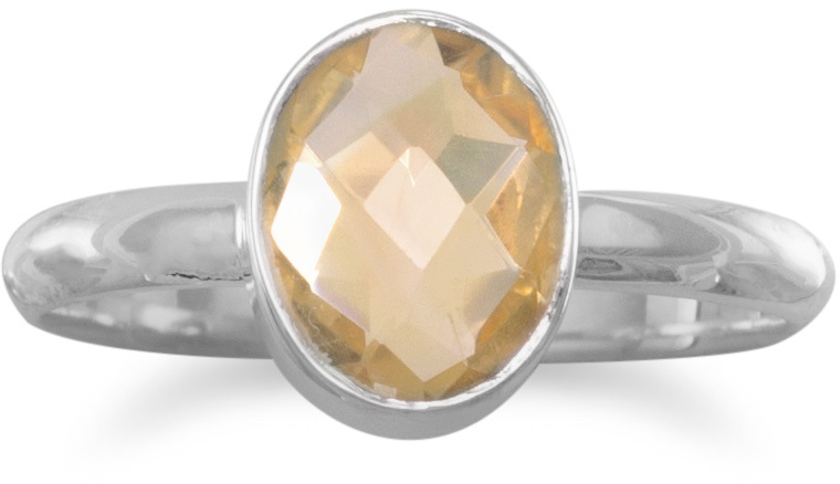 Faceted Citrine Stackable Ring 925 Sterling Silver