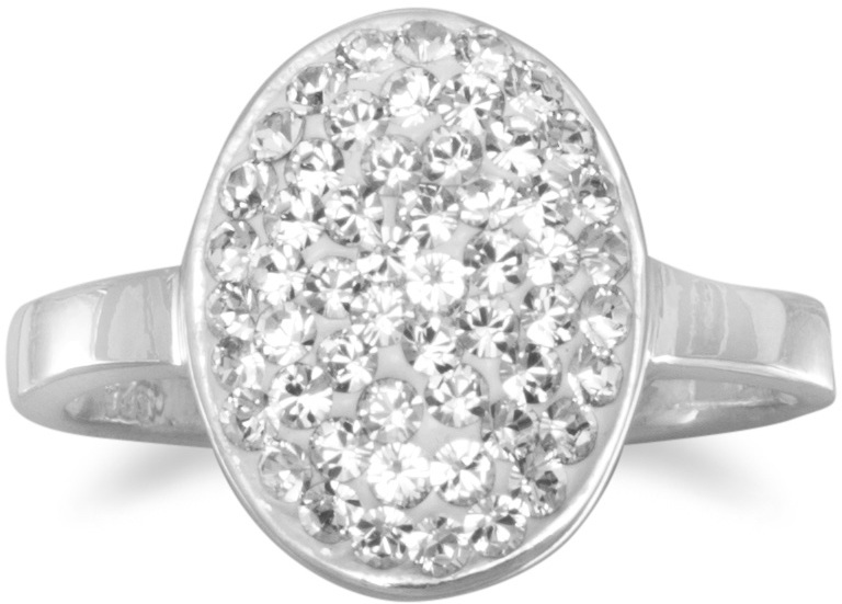 Oval Pave Crystal Ring 925 Sterling Silver