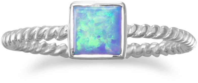 Square Synthetic Opal Ring 925 Sterling Silver - DISCONTINUED