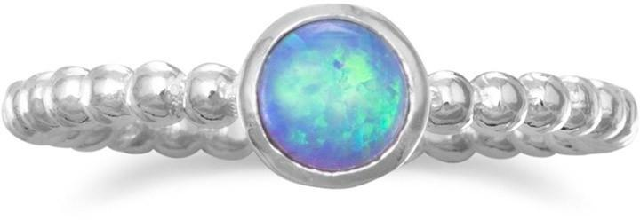 Round Synthetic Opal Ring 925 Sterling Silver