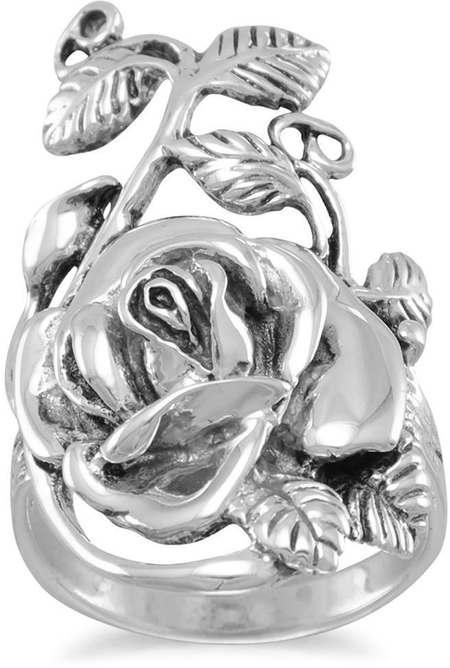 Oxidized Rose Ring 925 Sterling Silver