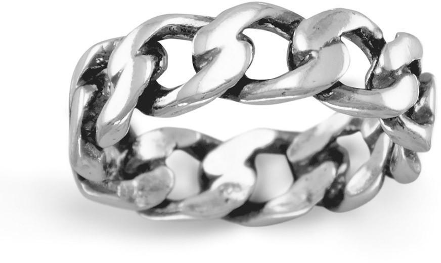Oxidized Curb Chain Ring 925 Sterling Silver