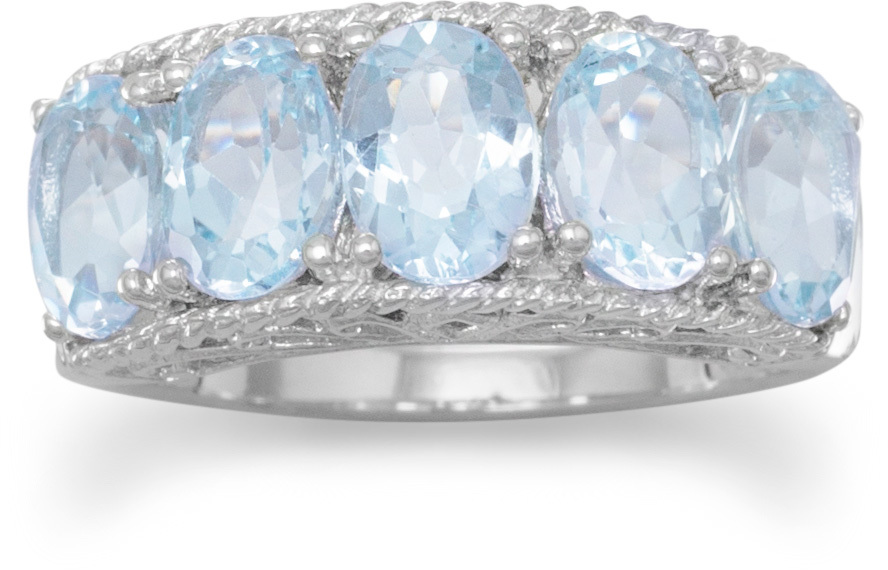 Five Stone Blue Topaz Ring 925 Sterling Silver