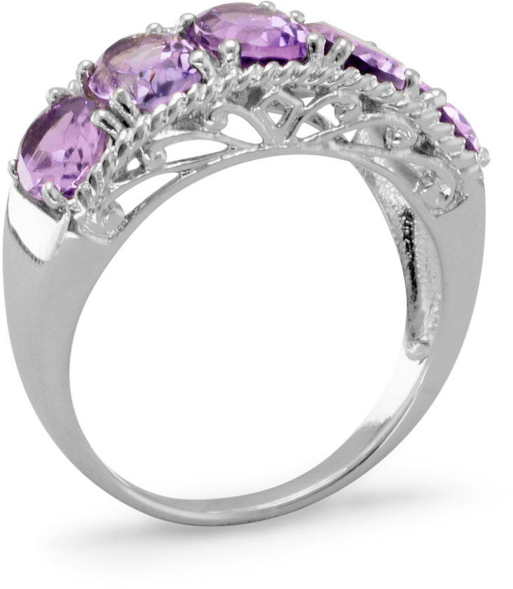 Five Stone Amethyst Ring 925 Sterling Silver