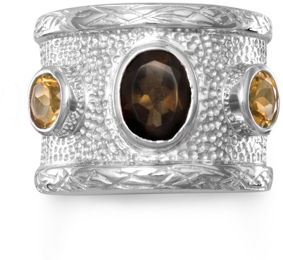 Quartz and Citrine Textured Ring 925 Sterling Silver