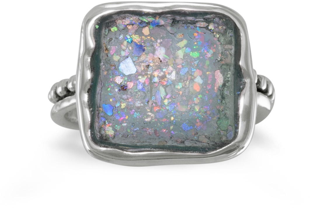 Square Roman Glass Ring 925 Sterling Silver
