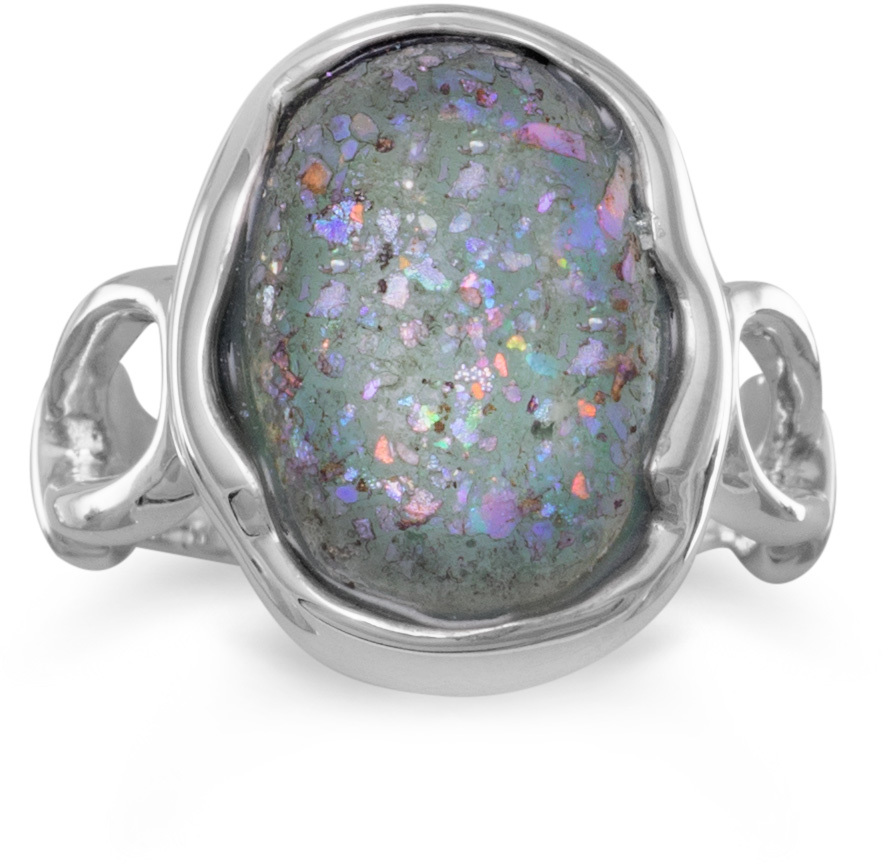 Oval Roman Glass Ring 925 Sterling Silver