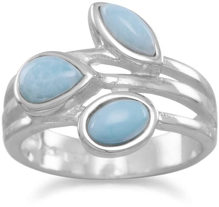 Multishape Larimar Ring 925 Sterling Silver