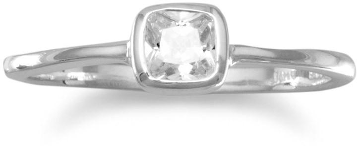Square Clear CZ Ring 925 Sterling Silver