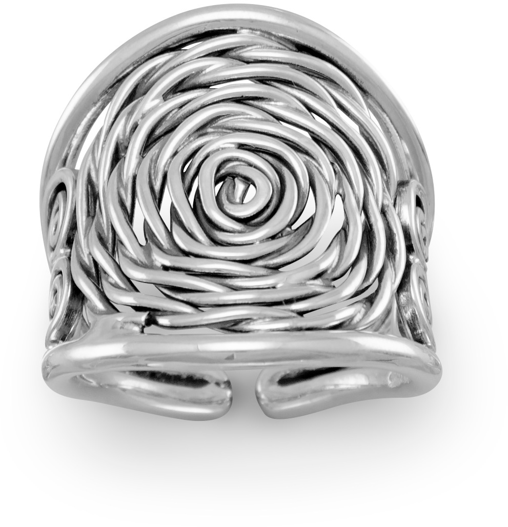 Oxidized Coil Design Ring 925 Sterling Silver