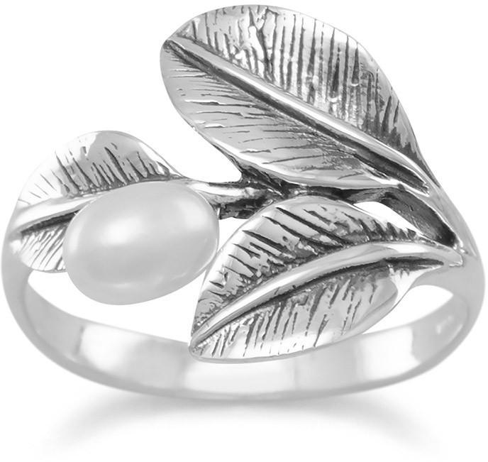 Oxidized Leaf Ring with Cultured Freshwater Pearl 925 Sterling Silver