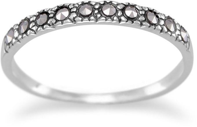 Thin Marcasite Band 925 Sterling Silver