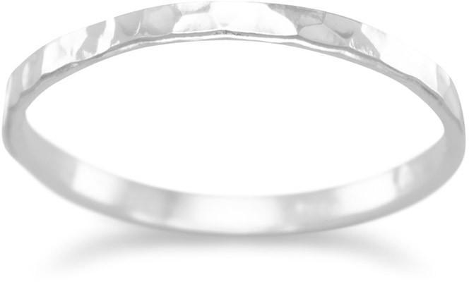 Thin Polished Hammered Band 925 Sterling Silver