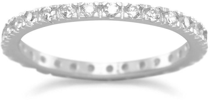 Rhodium Plated CZ Eternity Band 925 Sterling Silver