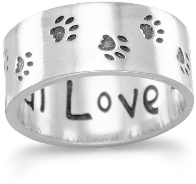 Oxidized Paw Print Band 925 Sterling Silver