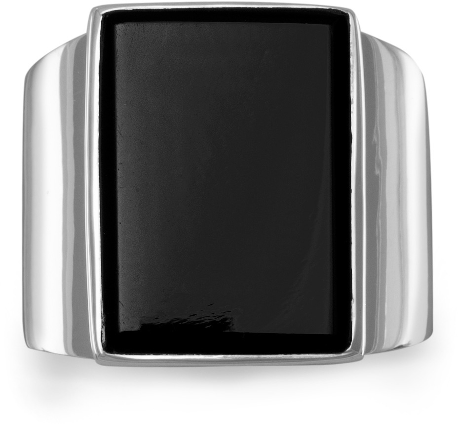 Rectangular Black Onyx Ring 925 Sterling Silver