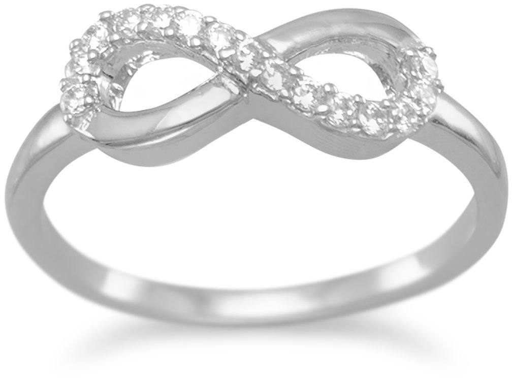 Rhodium Plated CZ Infinity Ring 925 Sterling Silver