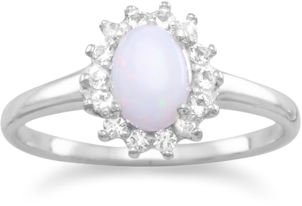 Rhodium Plated White Topaz and Australian Opal Ring 925 Sterling Silver