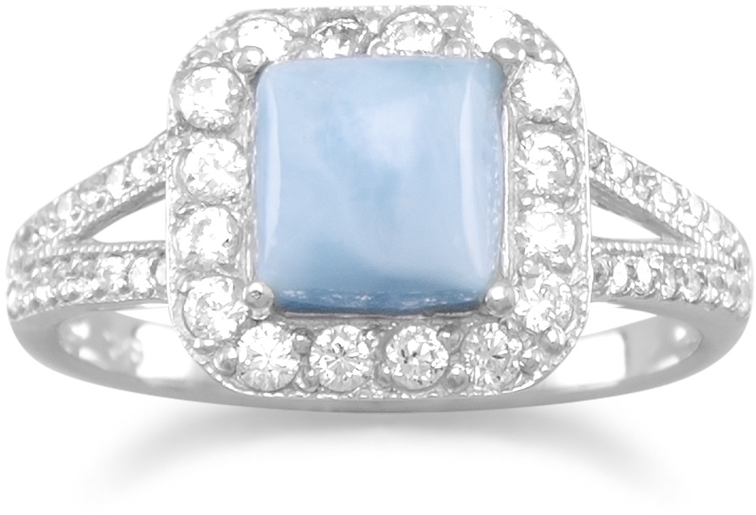 Rhodium Plated Square Larimar and CZ Ring 925 Sterling Silver