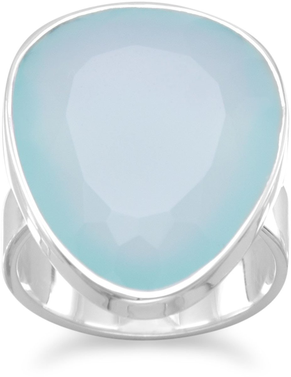 Freeform Sea Green Chalcedony Ring 925 Sterling Silver - DISCONTINUED