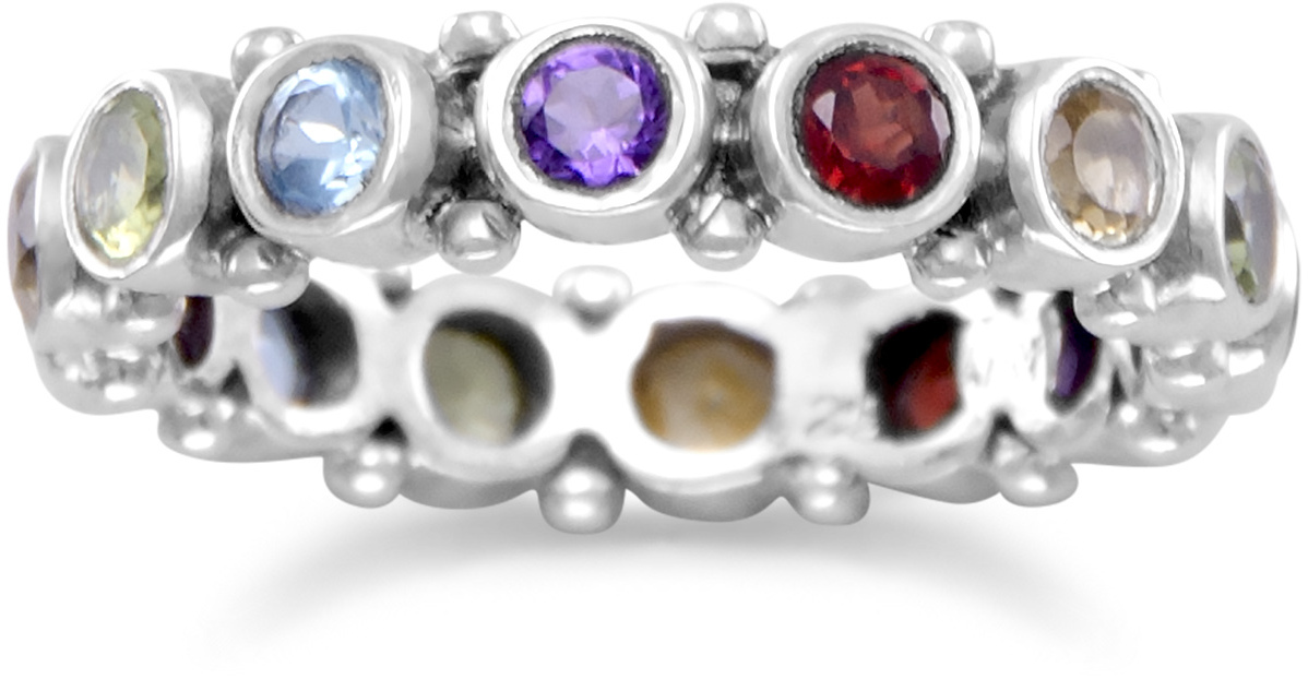 Oxidized Multistone Eternity Ring 925 Sterling Silver