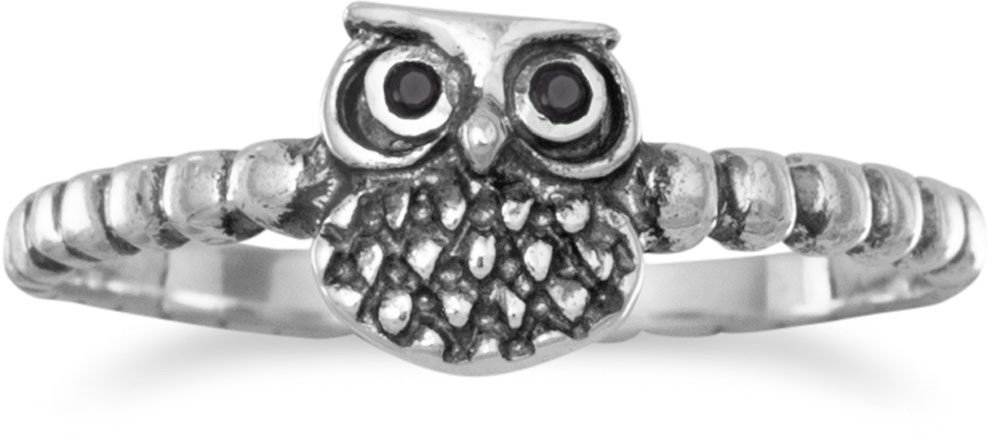 Oxidized Small Owl Ring 925 Sterling Silver