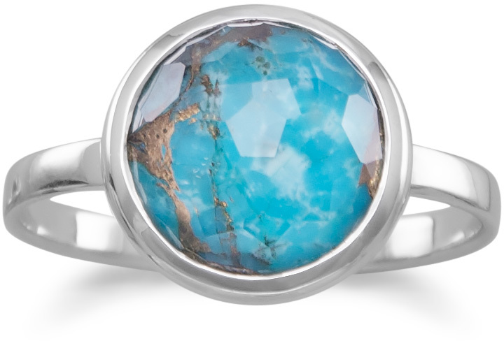 Large Round Freeform Faceted Quartz over Turquoise Stackable Ring 925 Sterling Silver