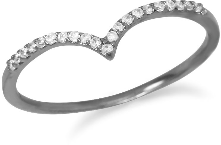 "Ruthenium Plated CZ ""V"" Ring - DISCONTINUED"