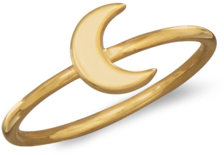 14 Karat Gold Plated Moon Ring