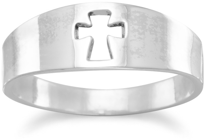 Small Band with Cut Out Cross Ring 925 Sterling Silver