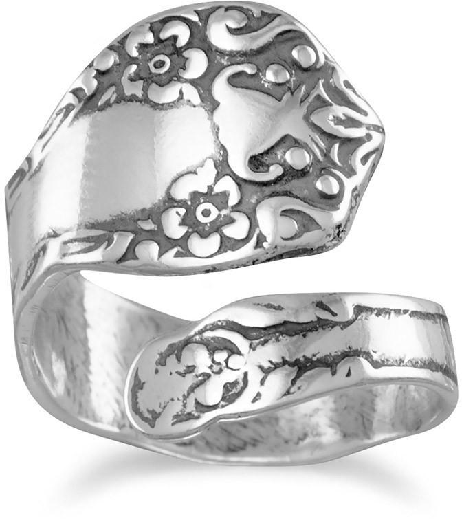 Oxidized Floral Spoon Ring 925 Sterling Silver