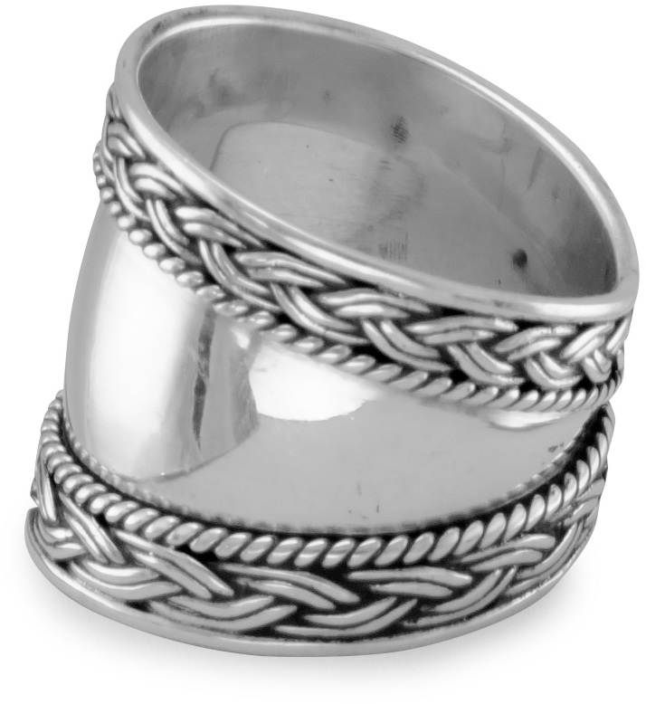Bali Ring with Braided Edge 925 Sterling Silver