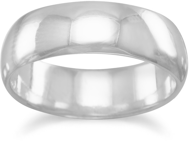 "6mm (1/4"") Polished Solid Band Ring 925 Sterling Silver"