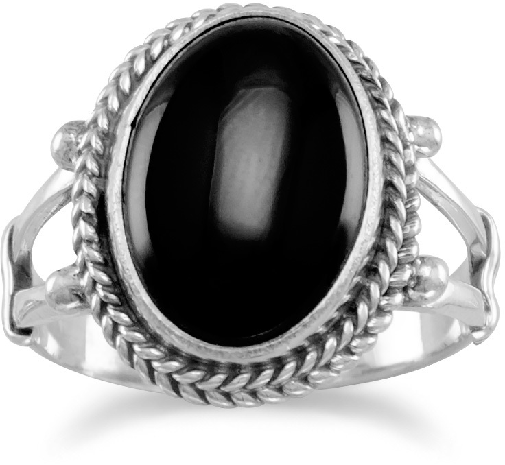 Oval Black Onyx Rope Edge Ring 925 Sterling Silver