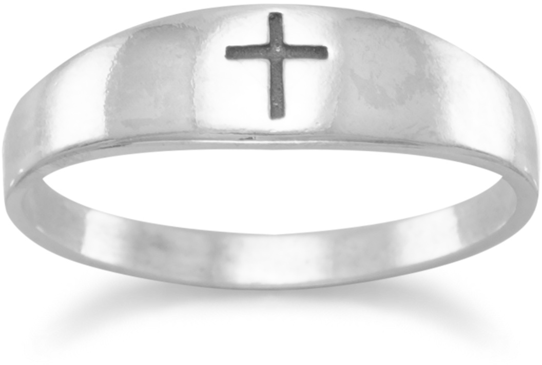 Graduated Band with Oxidized Cross Ring 925 Sterling Silver
