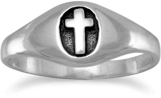 Small Oxidized Oval with Cross Ring 925 Sterling Silver