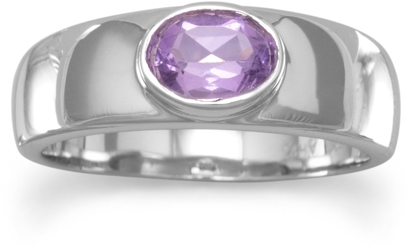 Oval Amethyst Ring with a Polished Band 925 Sterling Silver