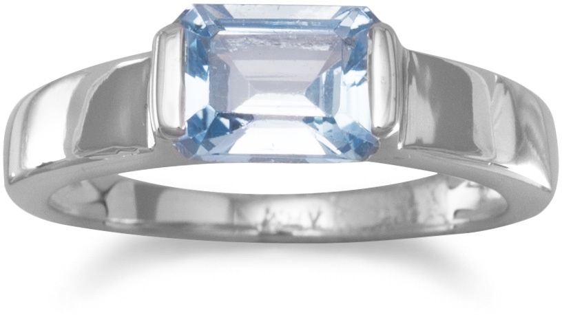 Emerald Cut Blue Topaz Ring 925 Sterling Silver - DISCONTINUED