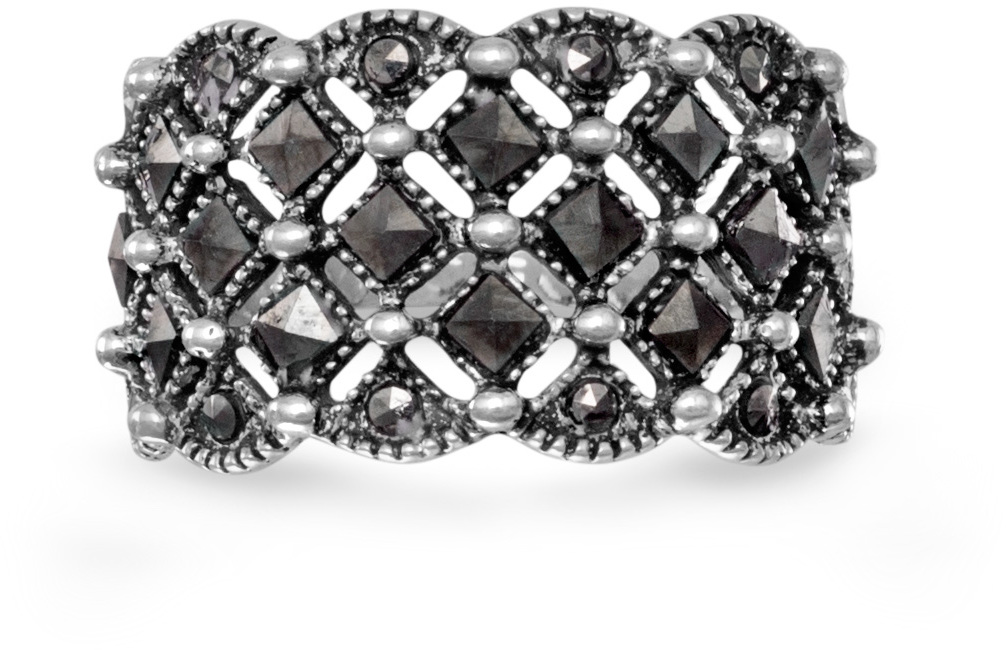 Square Pattern Marcasite Ring 925 Sterling Silver - DISCONTINUED