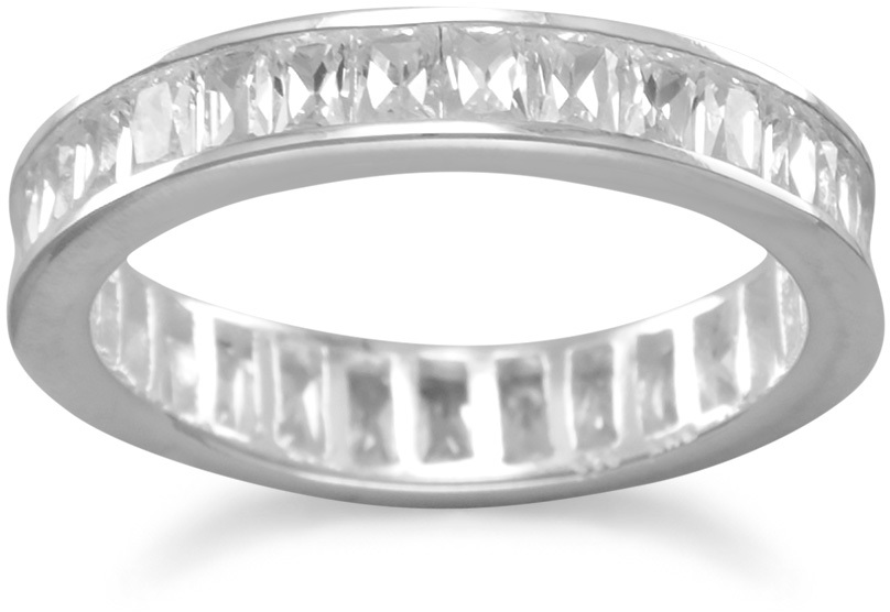 "4mm (1/6"") Baguette CZ Eternity Band 925 Sterling Silver - DISCONTINUED"