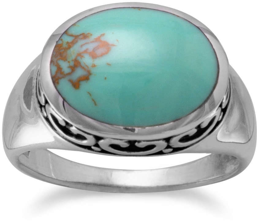 Oval Reconstituted Turquoise with Filigree Side Ring 925 Sterling Silver